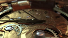 3D STEAMPUNK CLOCK EXTREME close-up. ALPHA MATTE Stock Footage