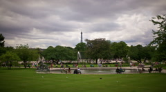 High angle time lapse of Jardin Tuilleries in central Paris, France Stock Footage