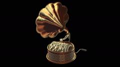 3D STEAMPUNK GRAMOPHONE. ALPHA MATTE Stock Footage