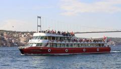 Pleasure boat underway in Bosphorus Stock Footage