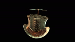 3D STEAMPUNK TOP HAT with PROPELLER. ALPHA MATTE Stock Footage