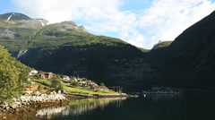 Small village at Geiranger Norway Stock Footage