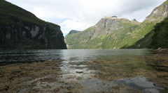 Low angle view of fjord at Geiranger Norway Stock Footage