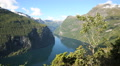 View at Geiranger fjord Norway Footage