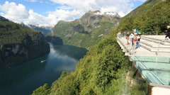 View Point Ornesvingen Geiranger Norway Stock Footage