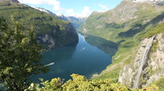 View at Geiranger fjord Norway Stock Footage