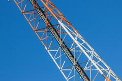 communications tower  on blue sky - stock photo