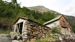 Old Boathouse at Geiranger Norway slider shot Stock Footage