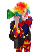 clown with green funnel - stock photo