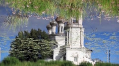 Church Reflection in water Stock Footage