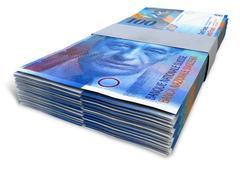 Swiss franc notes bundles Stock Illustration