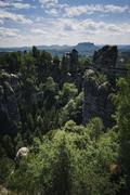Saxon Switzerland, Bastei rock formation - stock photo