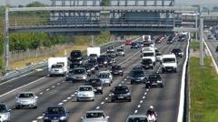 Summer Holiday makers on German Autobahn Motorway Expressway Germany Europe - stock footage