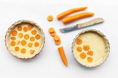 Buckwheat Carrot Tarts before baking, Lactose-free and gluten-free Stock Photos