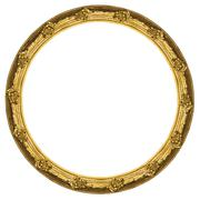 Golden circular frame isolated on white background. - stock photo