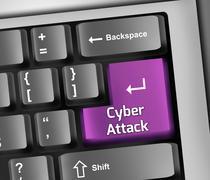 keyboard illustration cyber attack - stock illustration