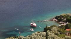 Small bay and boats from above Stock Footage