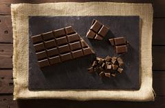 chocolate on slate - stock photo