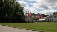 Flags of different countries near Kurhaus and Casino Baden-Baden. Stock Footage