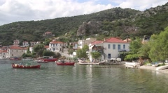 Small bay and boats near the shore Stock Footage
