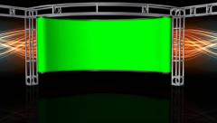 HD Virtual Studio Background with green screen Wall Stock Footage