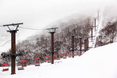 ski chair lift - stock photo