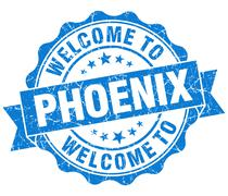 welcome to phoenix blue vintage isolated seal - stock illustration
