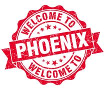 welcome to phoenix red vintage isolated seal - stock illustration