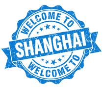 Welcome to shanghai blue vintage isolated seal Stock Illustration