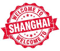 Welcome to shanghai red vintage isolated seal Stock Illustration