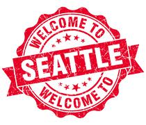 welcome to seattle red vintage isolated seal - stock illustration