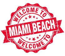 welcome to miami beach red vintage isolated seal - stock illustration