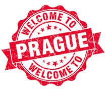 Welcome to prague red vintage isolated seal Stock Illustration