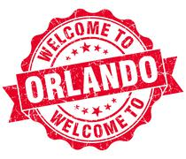 Welcome to orlando red vintage isolated seal Piirros