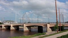 Downtown Wichita, KS bridge wide shot Stock Footage