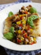 Tempeh fillet with Date Ratatouille Relish - stock photo