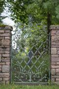 Rottach-Egern, wrought-iron garden gate Stock Photos