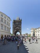 Knights of the Cross Square with Old Town bridge tower and a Neo-Gothic statue Stock Photos