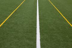 Artificial turf -  white and 2 yellow lines Stock Photos
