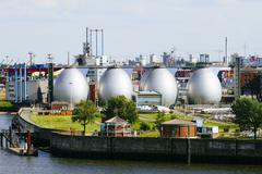 Digestion tanks of water treatment plant Koehlbrandhoeft at River Elbe Stock Photos