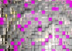Abstract image of cubes background in pink toned Stock Illustration