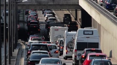 German Autobahn Motorway Expressway Traffic Jam to Munich city center Germany Stock Footage