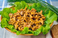 fried mushrooms of chanterelle on a dish together with lettuce leaves and veg - stock photo