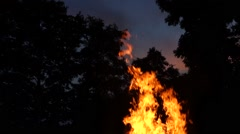 Campfire - high flames - with remaining sky Stock Footage