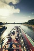 Wesel-Datteln Canal with Flaesheim watergate - stock photo