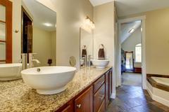 Modern bathroom vanity cabinet with vessel sinks Stock Photos