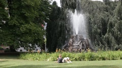 Ancient Fountain at Lichtentaler alley in Baden-Baden ( Germany) Stock Footage