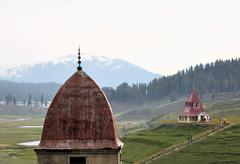 Stock Photo of Mosque and Hindu temple in mountains of Kashmir