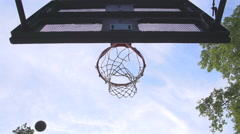 Shot from below, a basketball swirls around the net Stock Footage