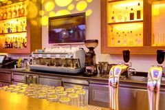 Coffee machine in a bar - stock photo